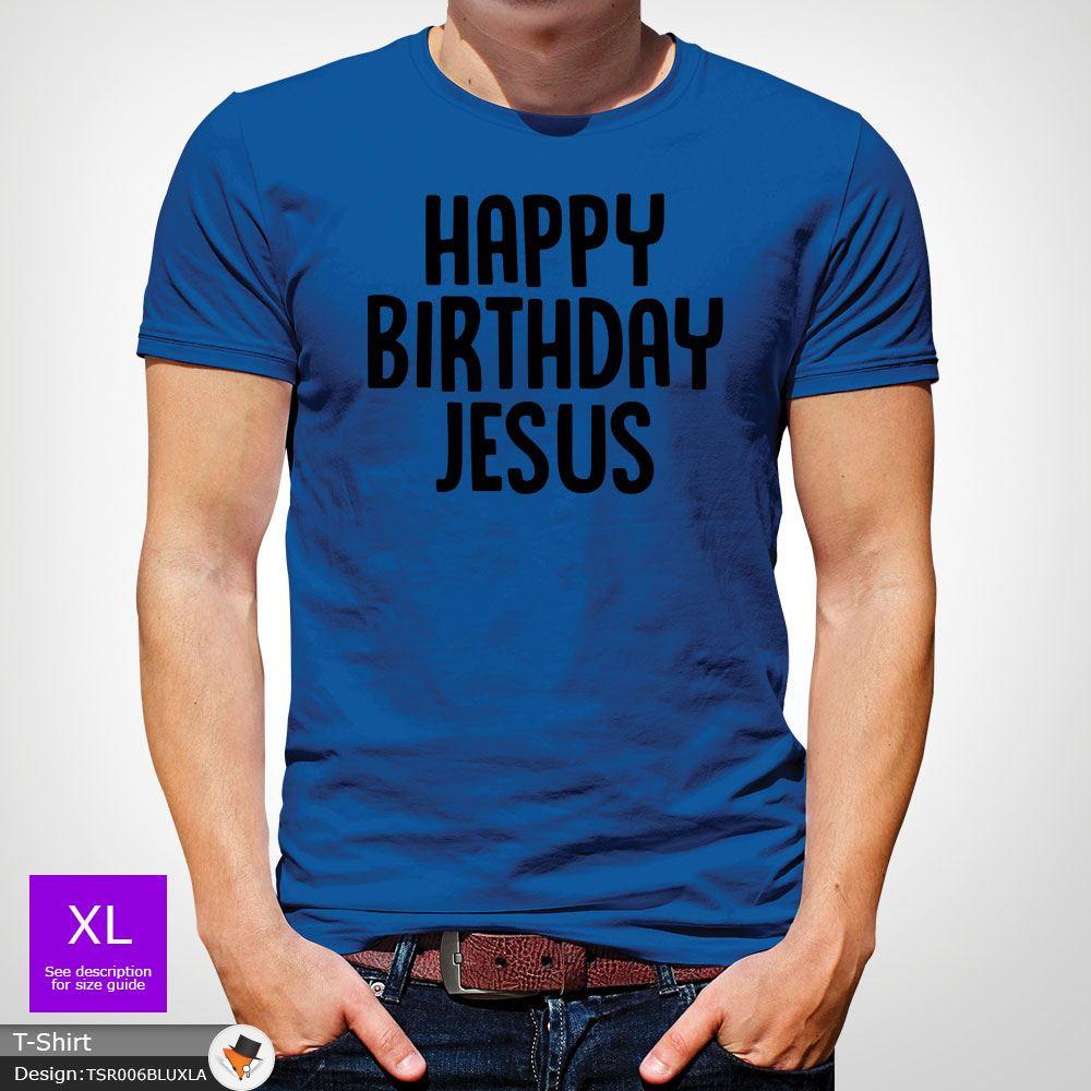 Happy Birthday Jesus/' Christmas T shirt Alternative Religious Funny Weird Red