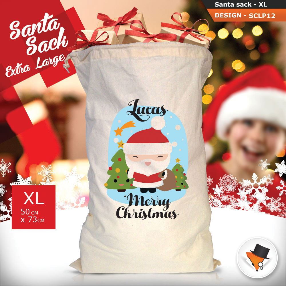 Personalised Childrens Santa Sack Christmas Bag Polar Bear Cartoon Boy Blue