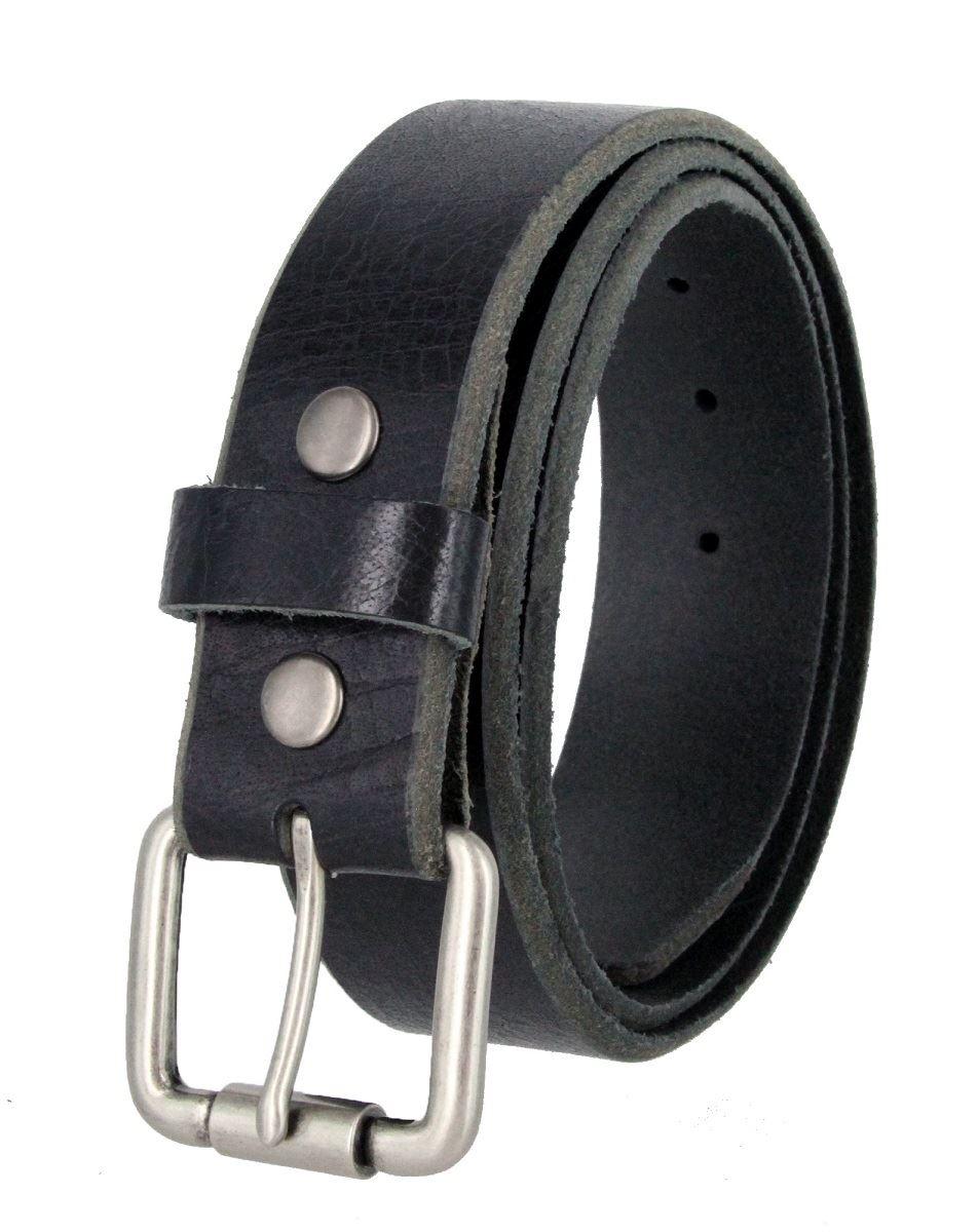 "Vintage Genuine One Piece Leather Belt Roller Buckle 1-1//2/"" Wide Black Brown Tan"