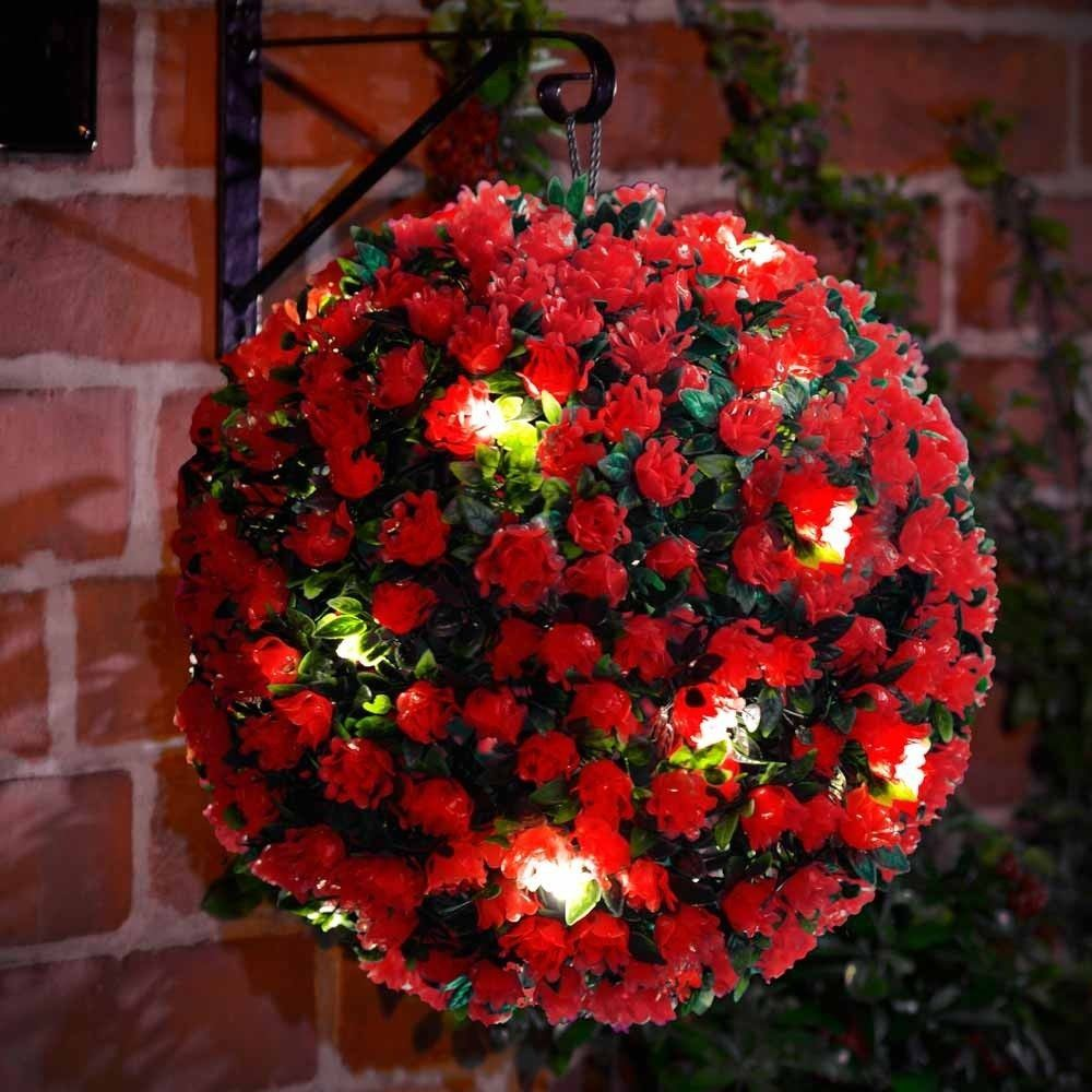 20 LED SOLAR POWERED ROSE TOPIARY BALL BOXWOOD HANGING GARDEN LIGHT ORNAMENT