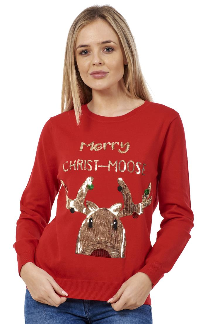 Ladies Novelty Sequin Snowman Rudolph Christmas Xmas Party Jumper Sweater