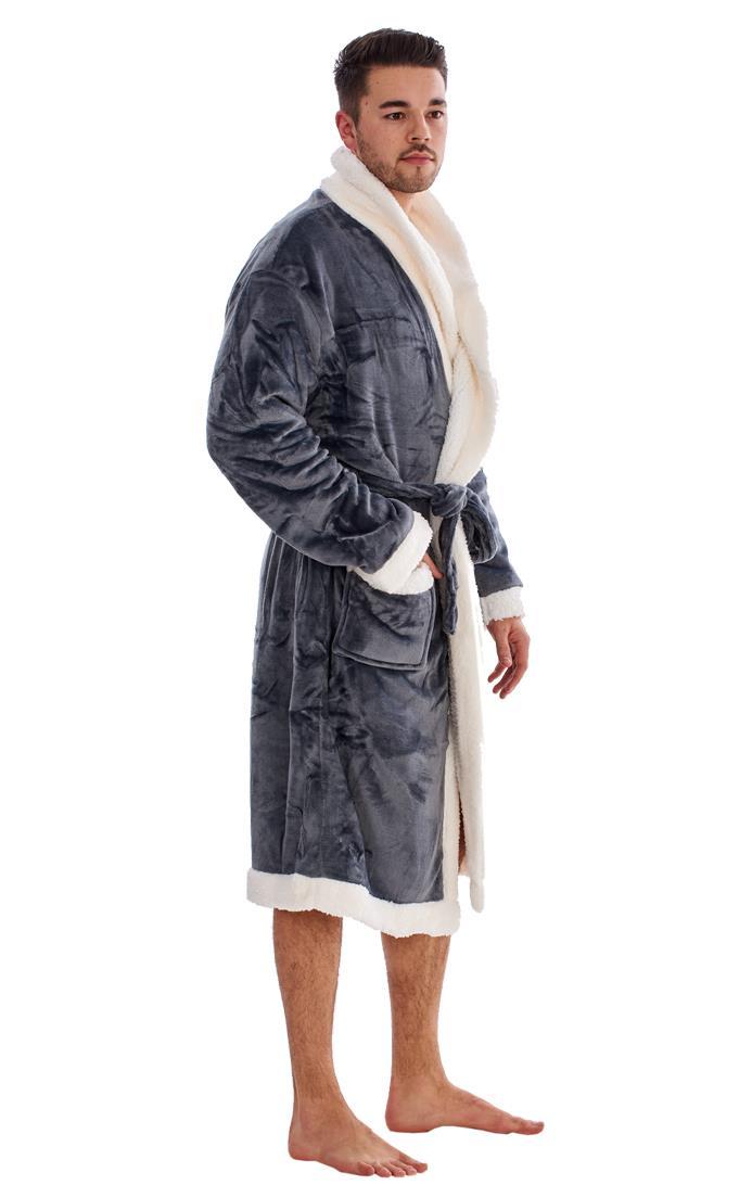 Mens Luxury Sherpa Lined Cosy Robe Fleece Dressing Gown