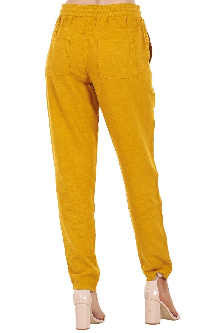 Ladies Peg Linen Trousers Holiday Tapered Pants Summer Casual Pants