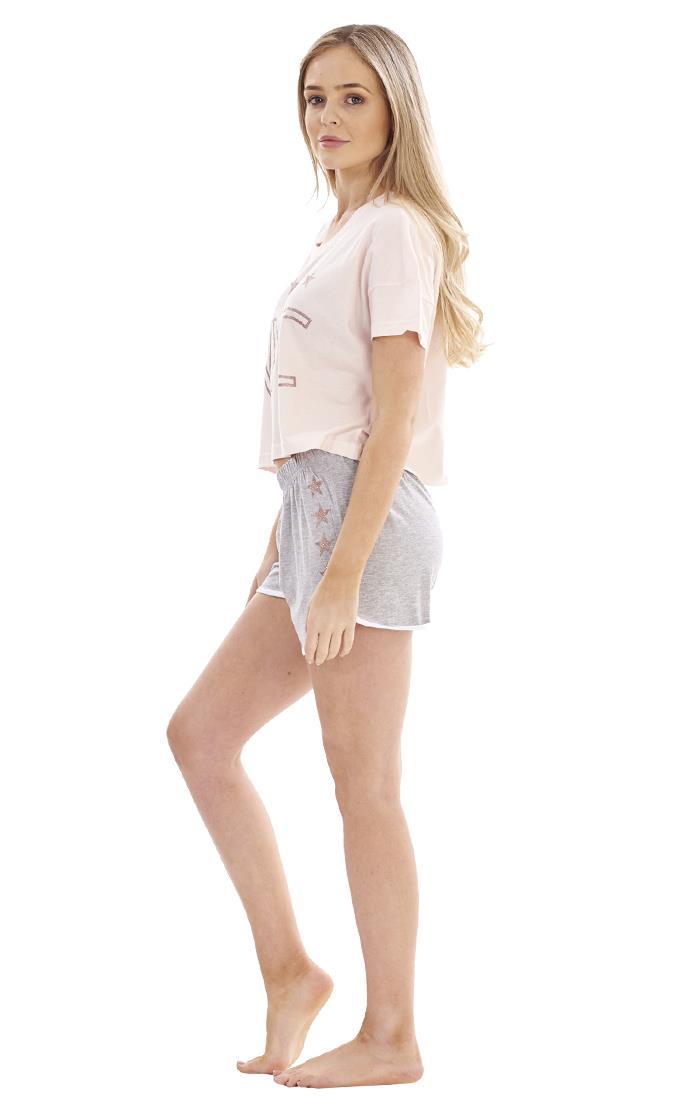 Details about  /Ladies Cute NYC Crop Top Shorts Pyjama Set PJ/'S Short Pyjamas