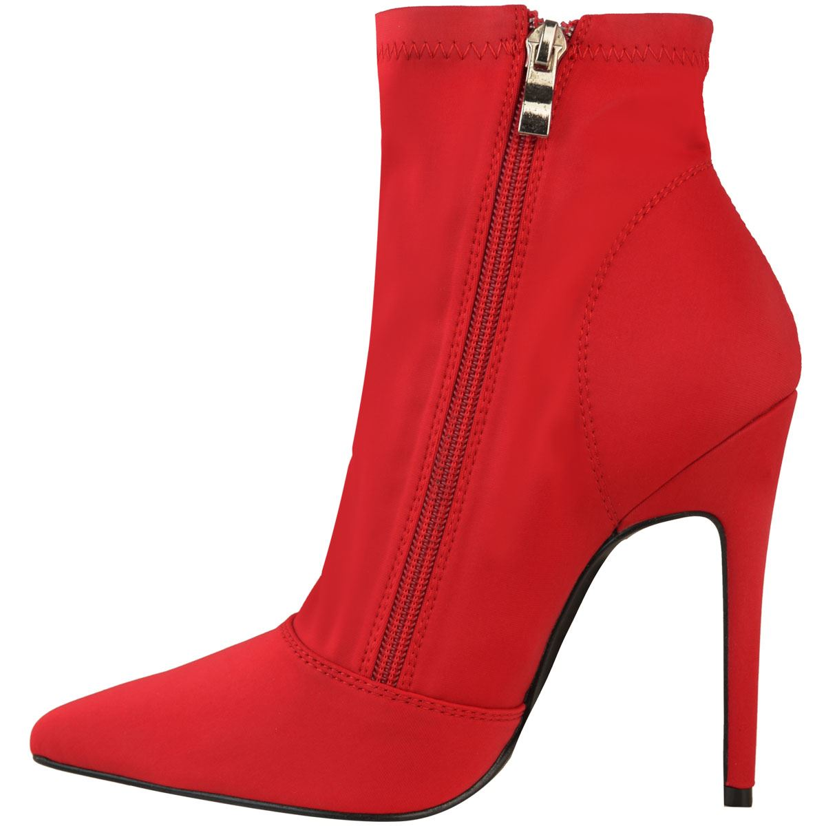 Womens Ladies Stretch Stilettos High Heels Ankle Boots Pointed Toe Lycra Size