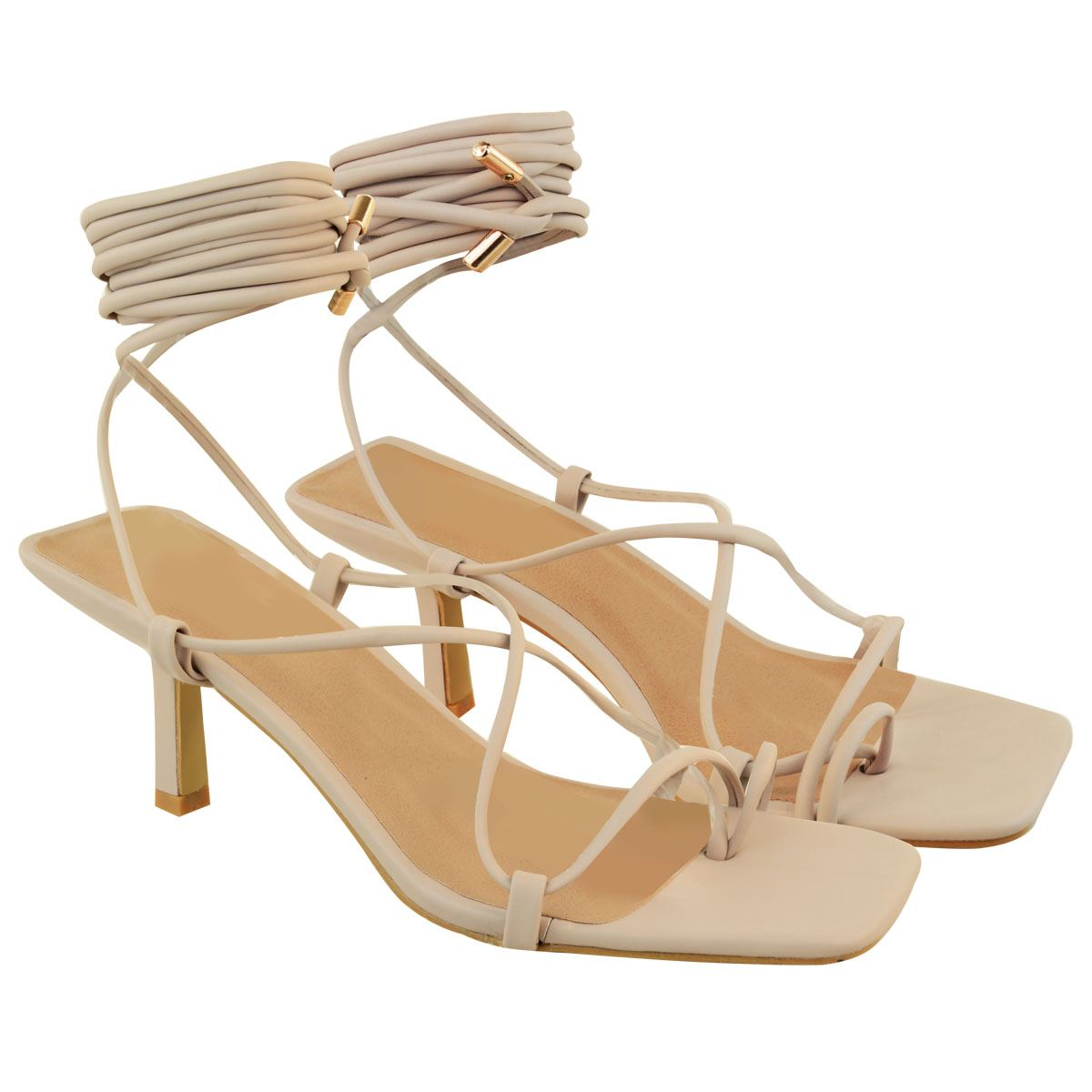Ladies Womens Strappy Tie Up Sandals Lace Low Heels Toe Loop Summer Party Shoes