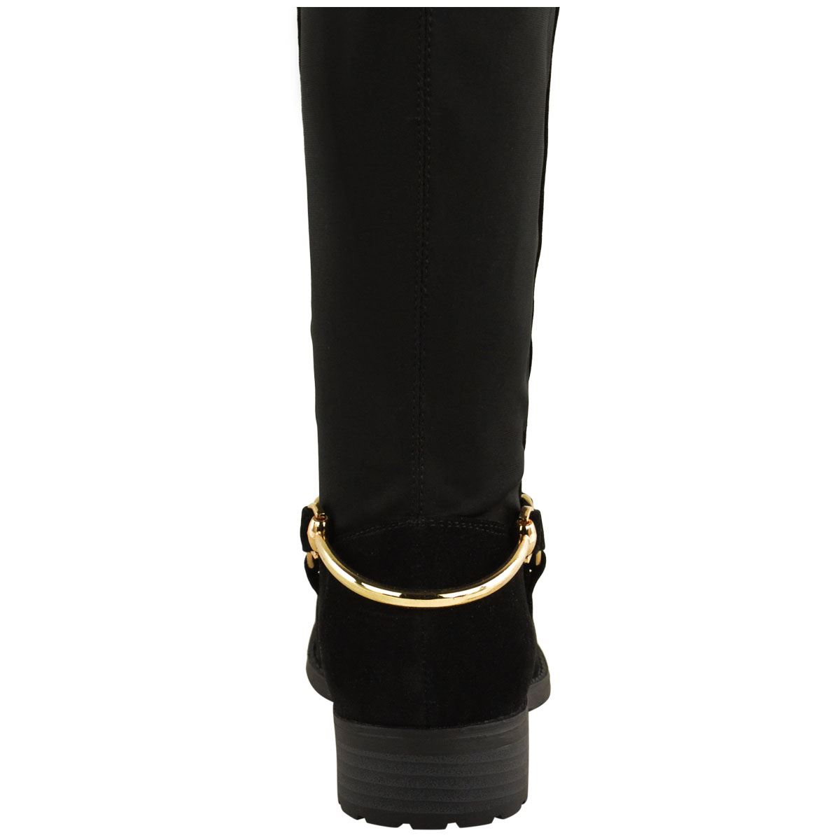 WOMENS LADIES OVER THE KNEE THIGH HIGH STRETCH PULL ON LOW FLAT HEEL BOOTS SHOES