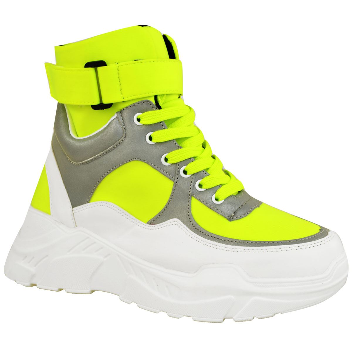 Womens Ladies Hi High Top Sneakers Trainers Chunky White Neon Yellow Pink Size
