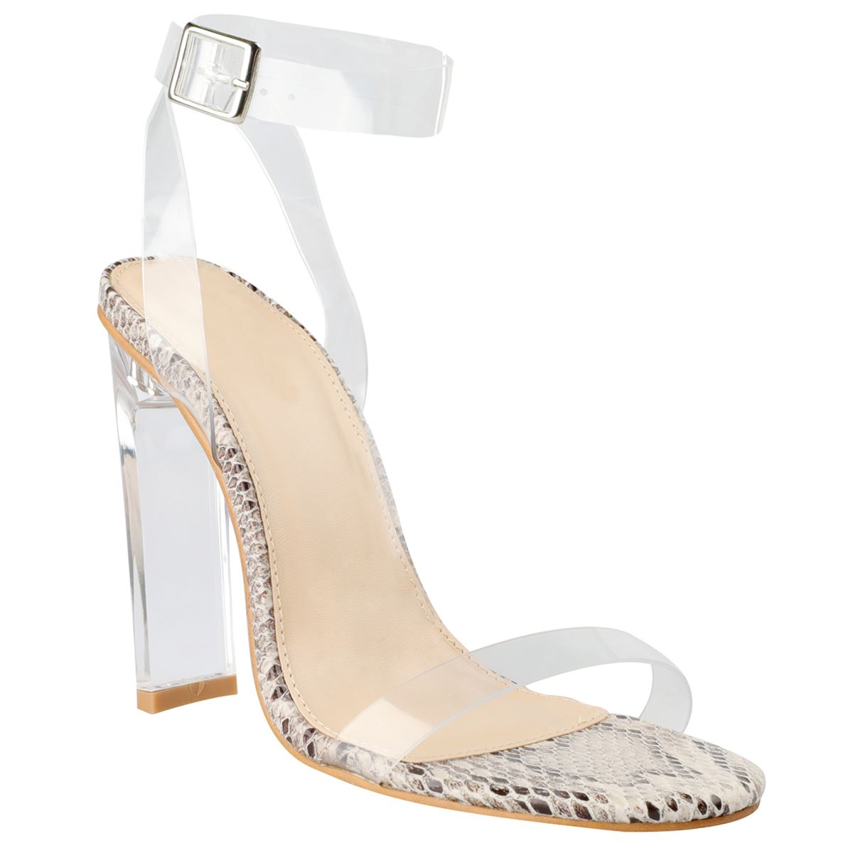 New Womens High Heel Nude Black Perspex Clear Strappy Party Sandals Barely There