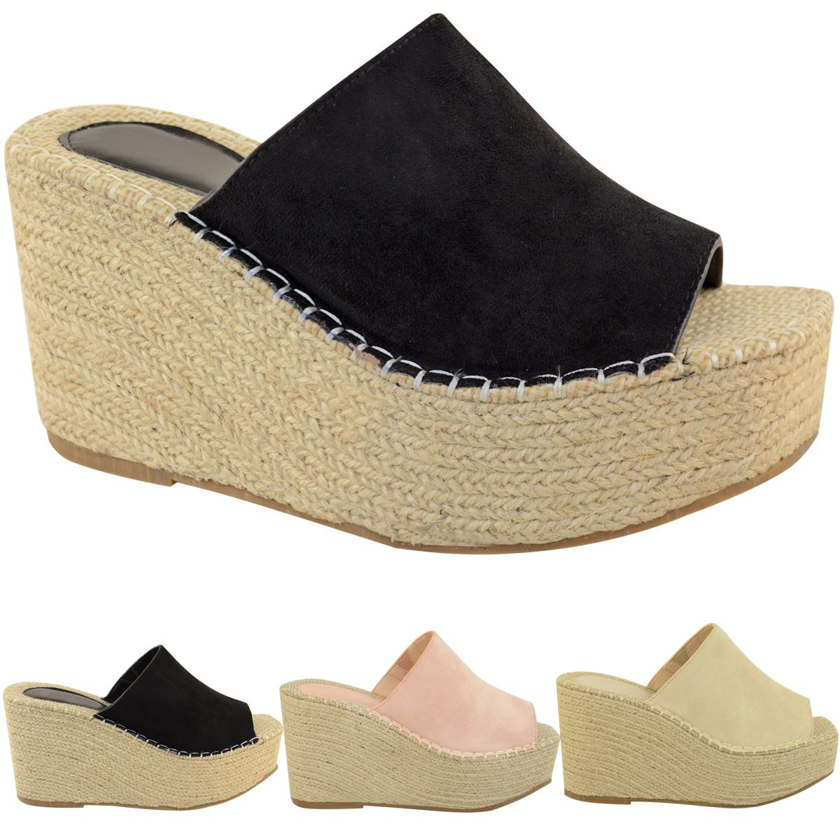 Womens Platform Sandals High Espadrille Wedge Mule Summer Comfort Raffia Slip On