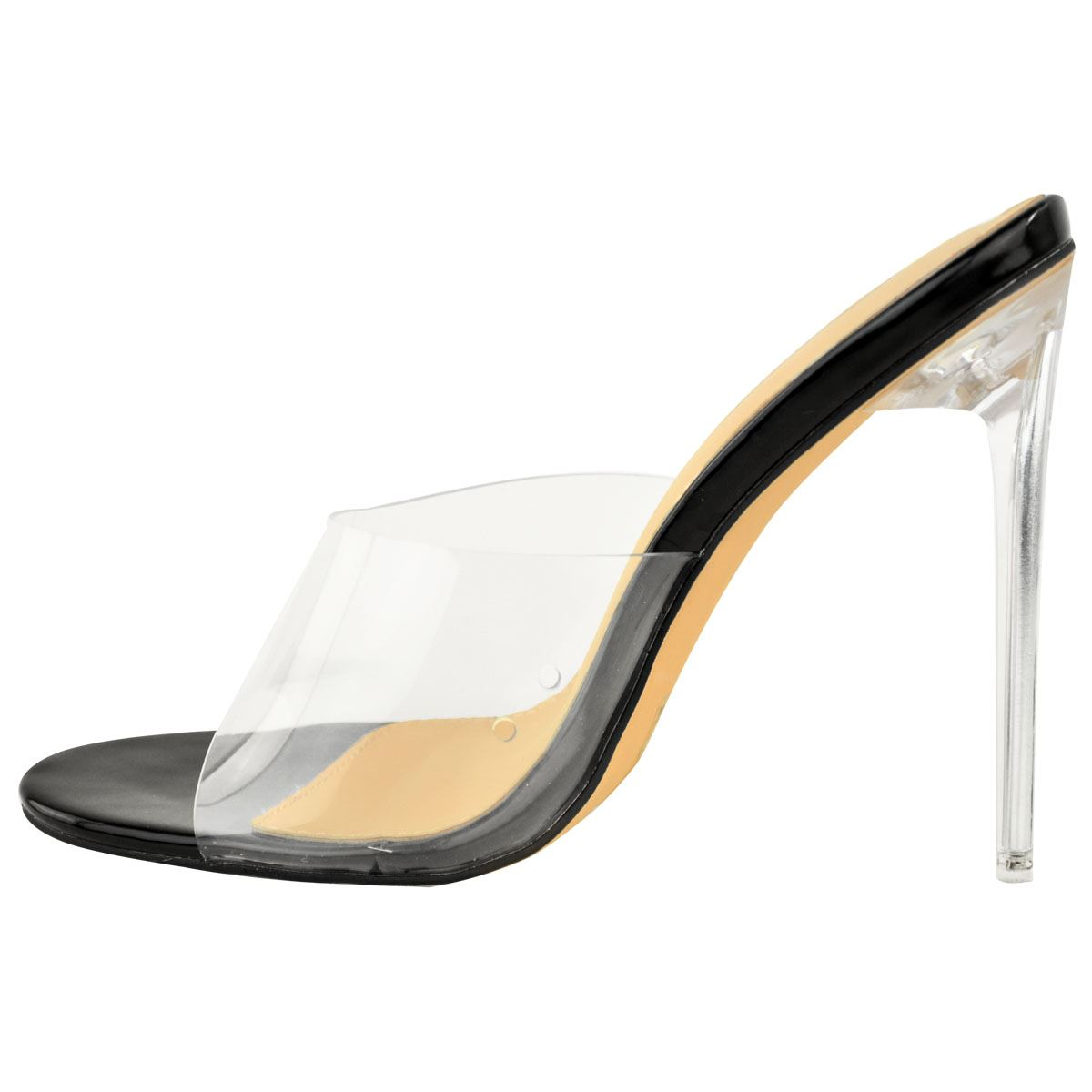 Womens Perspex Party Sandals Stiletto Glass High Heel Slip On Barely There Mules