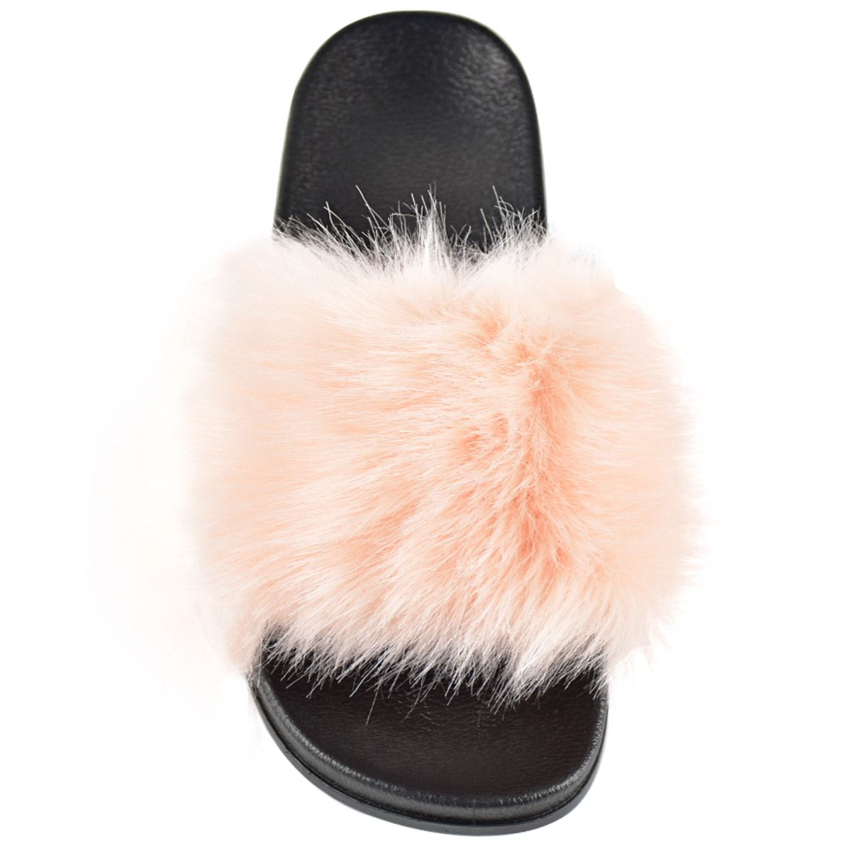 Womens New Fluffy Thick Faux Fur Flat Sliders Slides Summer Sandals Comfy Pumps
