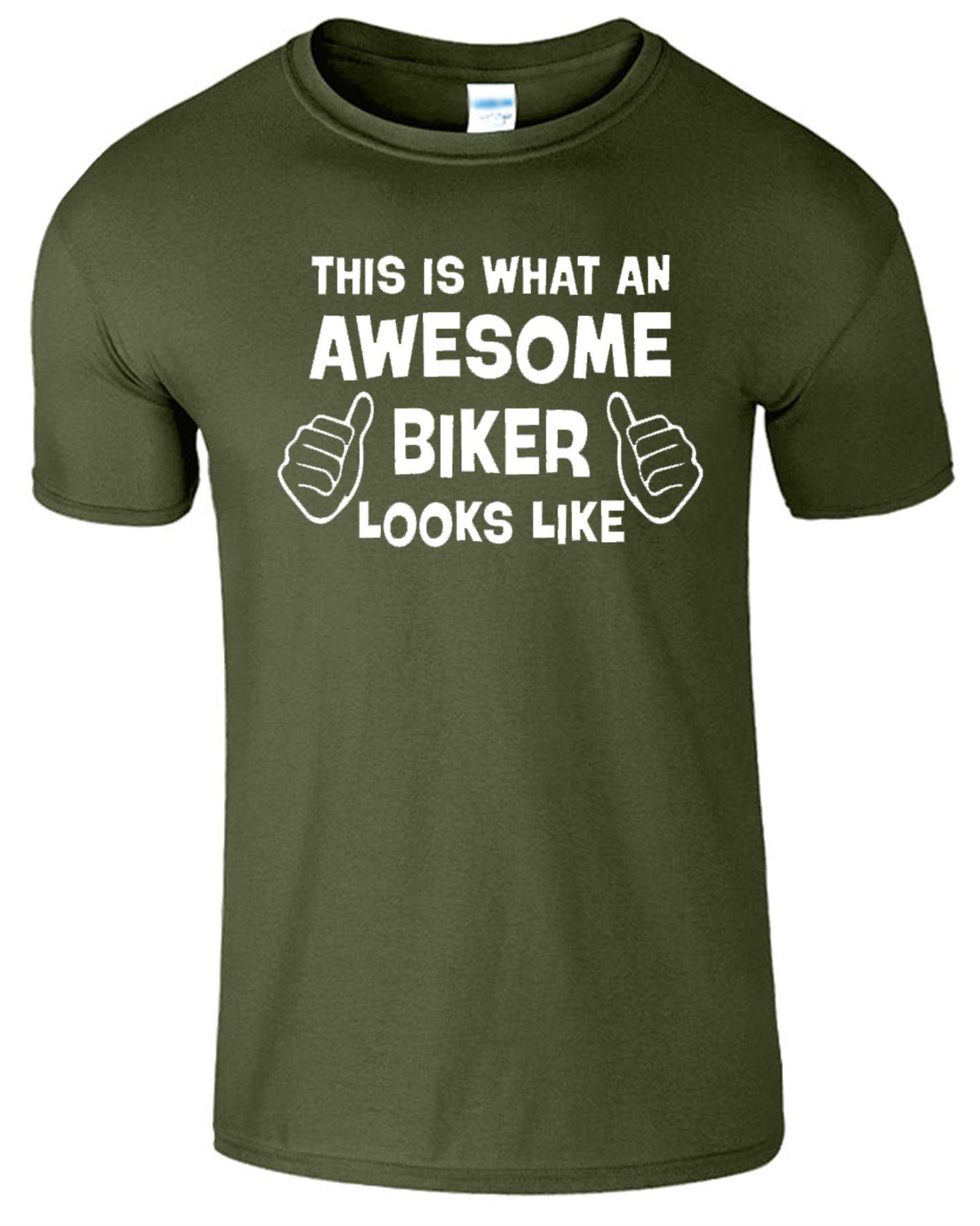 Awesome Biker Mens T-Shirt Motorcycle Rider Gift Birthday Motorbike T Shirt