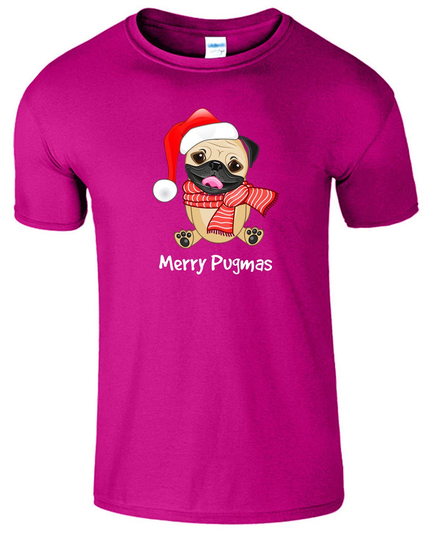 Merry Pugmas Christmas Mens Womens T Shirt Wearing Santa Hat Dog Top Tee T-Shirt