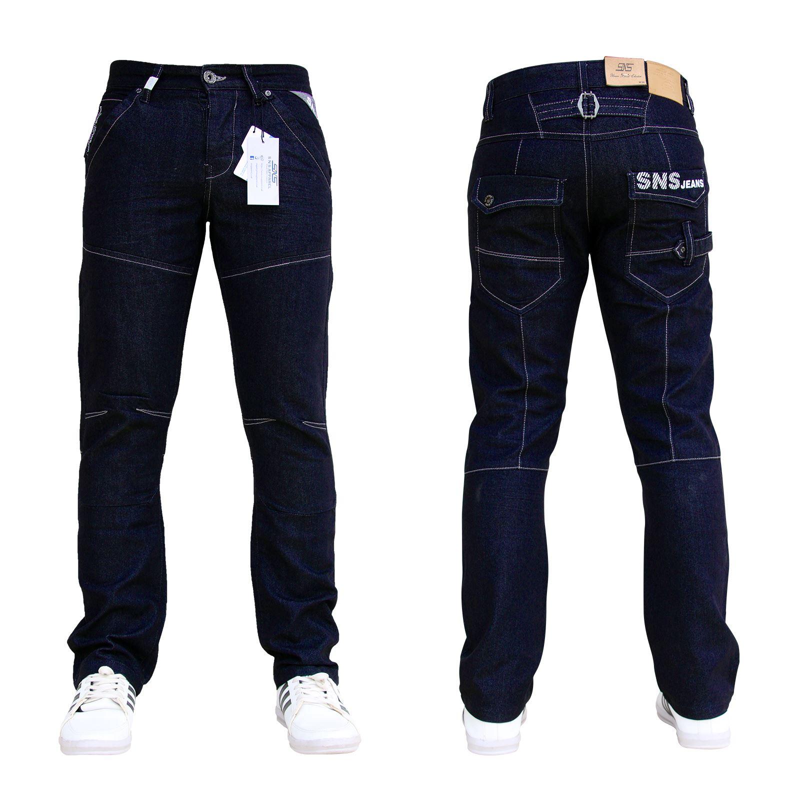 BNWT Nuovo Da Uomo Sns Jeans in Denim Blu Di Marca Dritto Tutte Le Taglie Vita E
