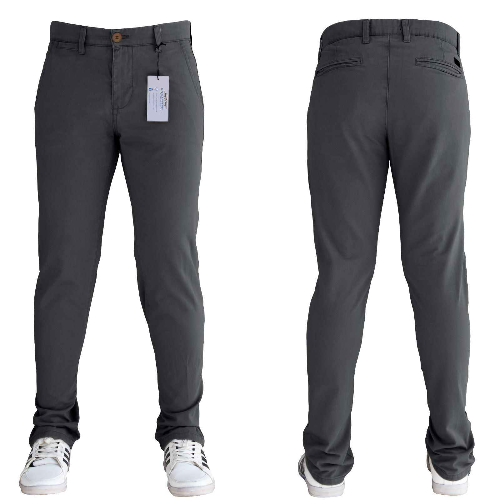 Mens Designer Regular Slim Fit Straight Trousers Cotton Chinos Jeans SNS Apparel