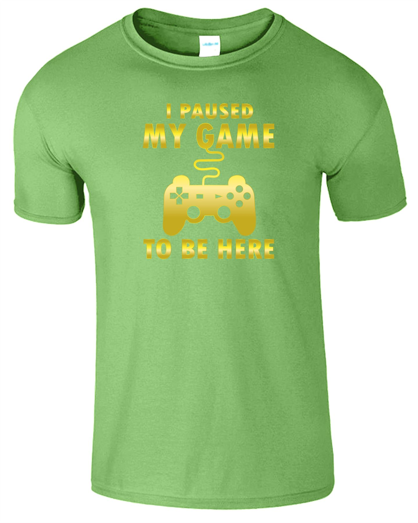 I PAUSED MY GAME TO BE HERE Mens Kids T-Shirt Retro Funny Gamer Top Boys Tshirt