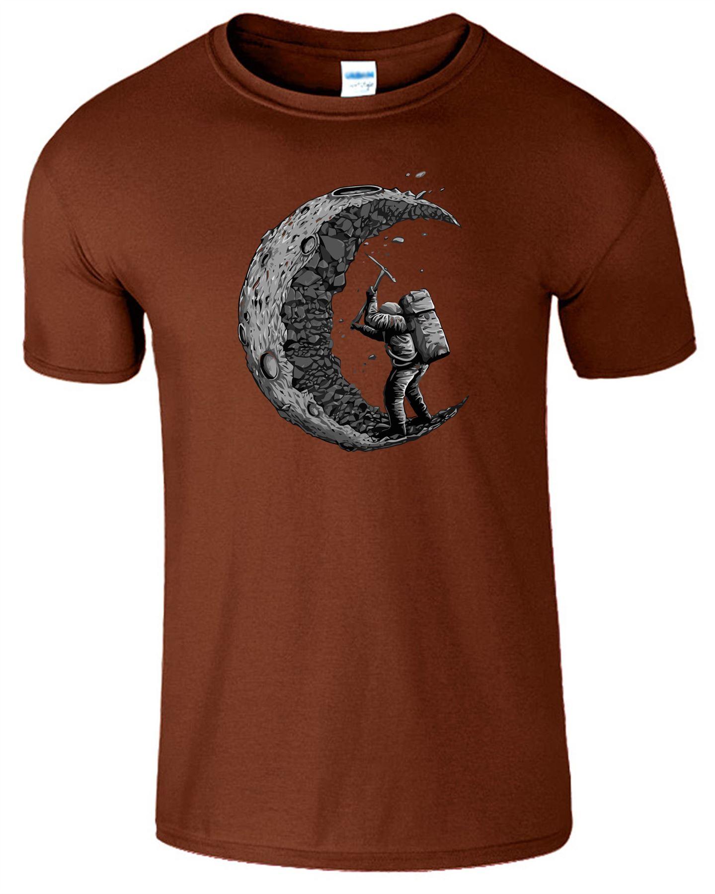 Digging The Moon Design Kids Mens Tshirt Funny Printed Short Sleeve T-Shirts