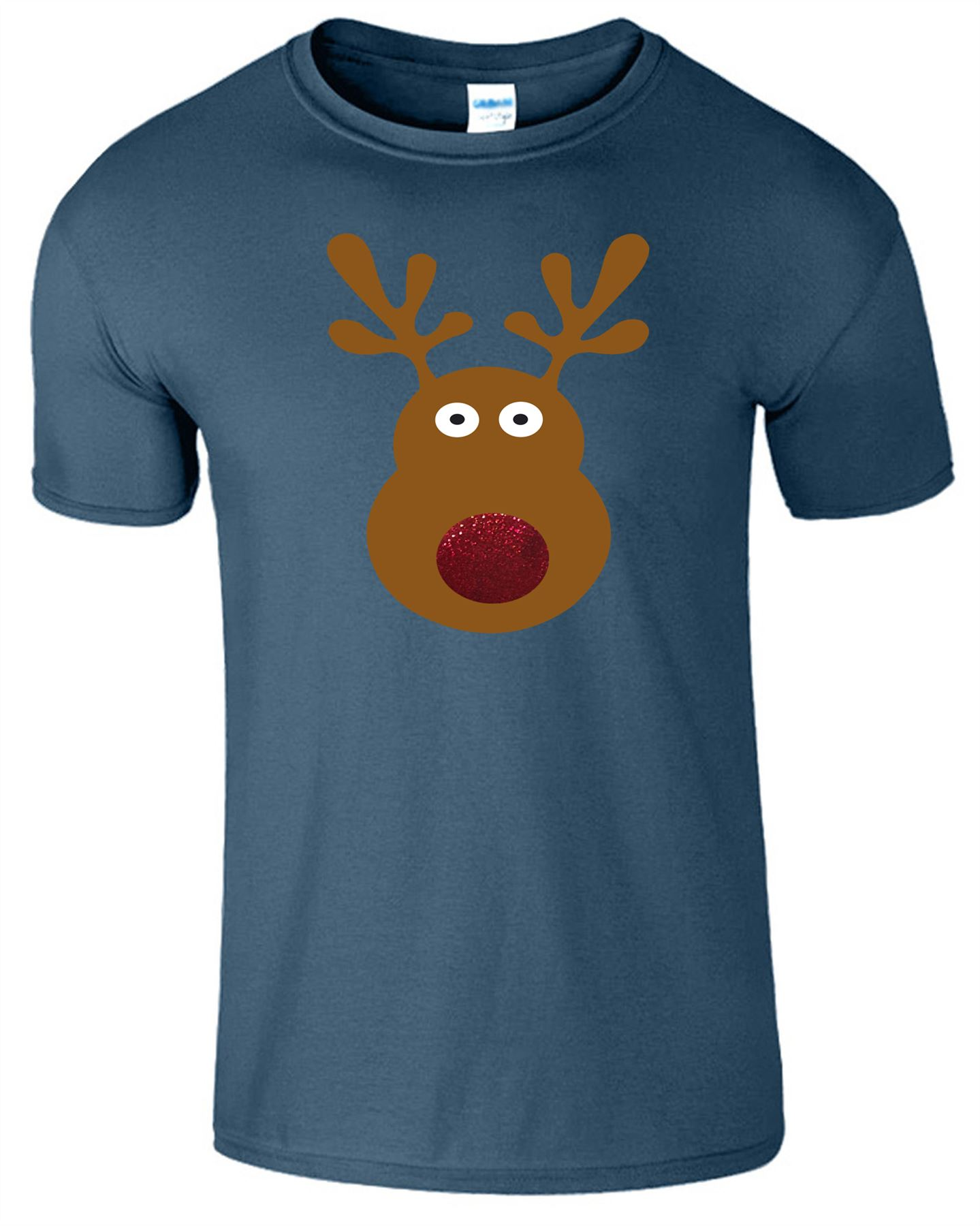 Rudolph Reindeer Glitter Nose Mens Kids T-Shirt Merry Christmas Xmas Gift TShirt