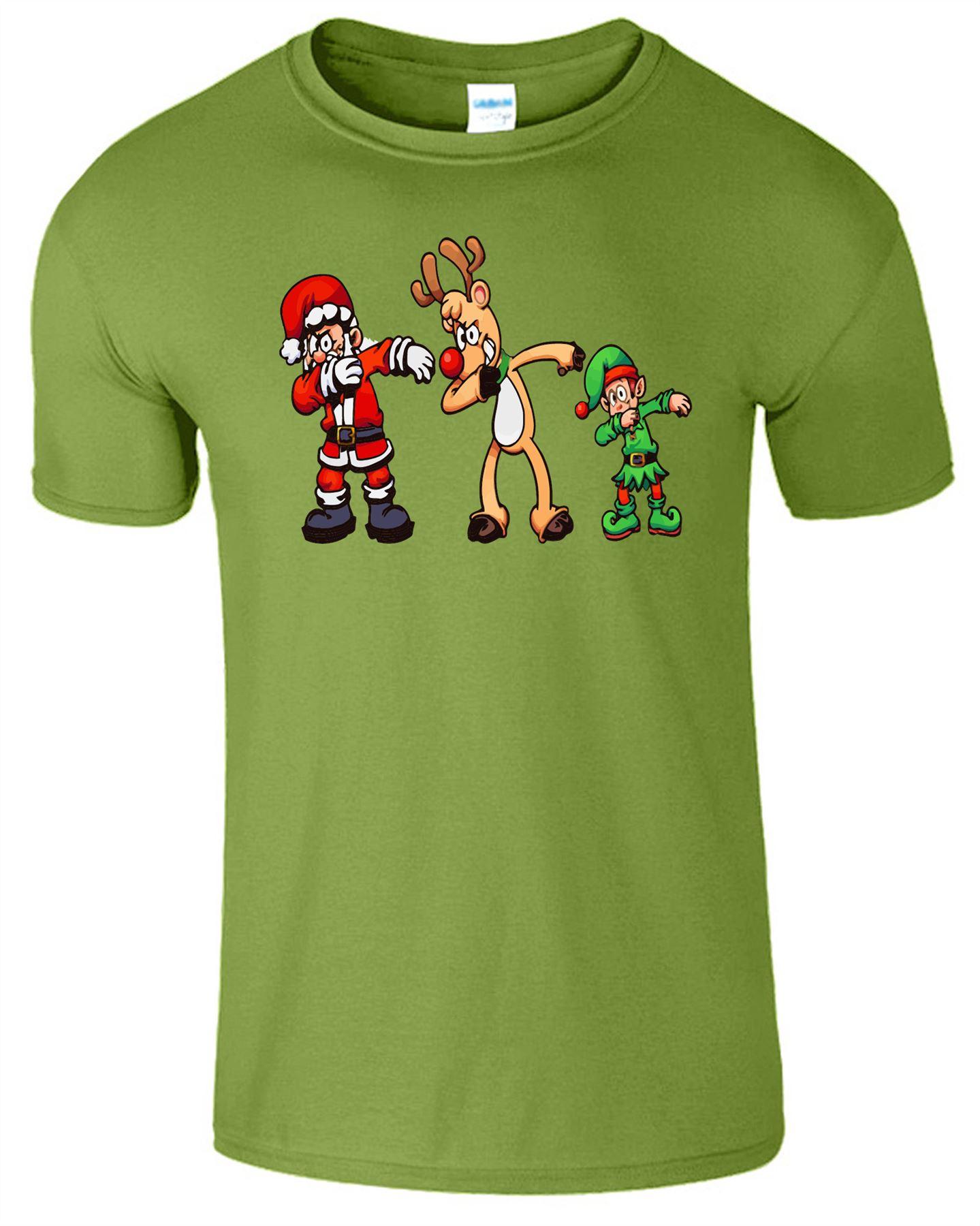 Christmas Reindeer Mens Kids T-Shirt Funny Santa Elf Novelty Xmas Boys T Shirt