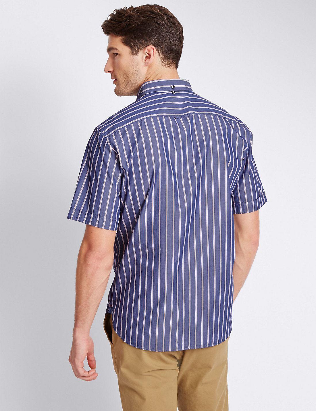EX M/&s Marks and Spencer Puro Cotone Manica Corta Camicia A Righe
