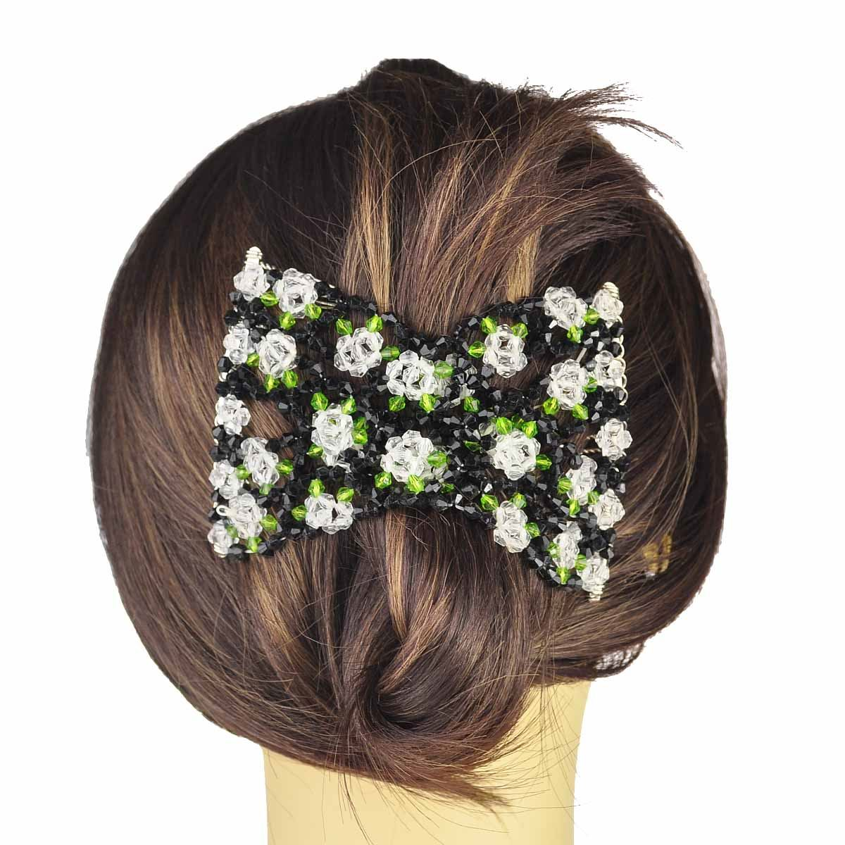 Width 10cm Ladies Rose//Oval Crystal Beads Stretchy Magic Hair Comb Clip