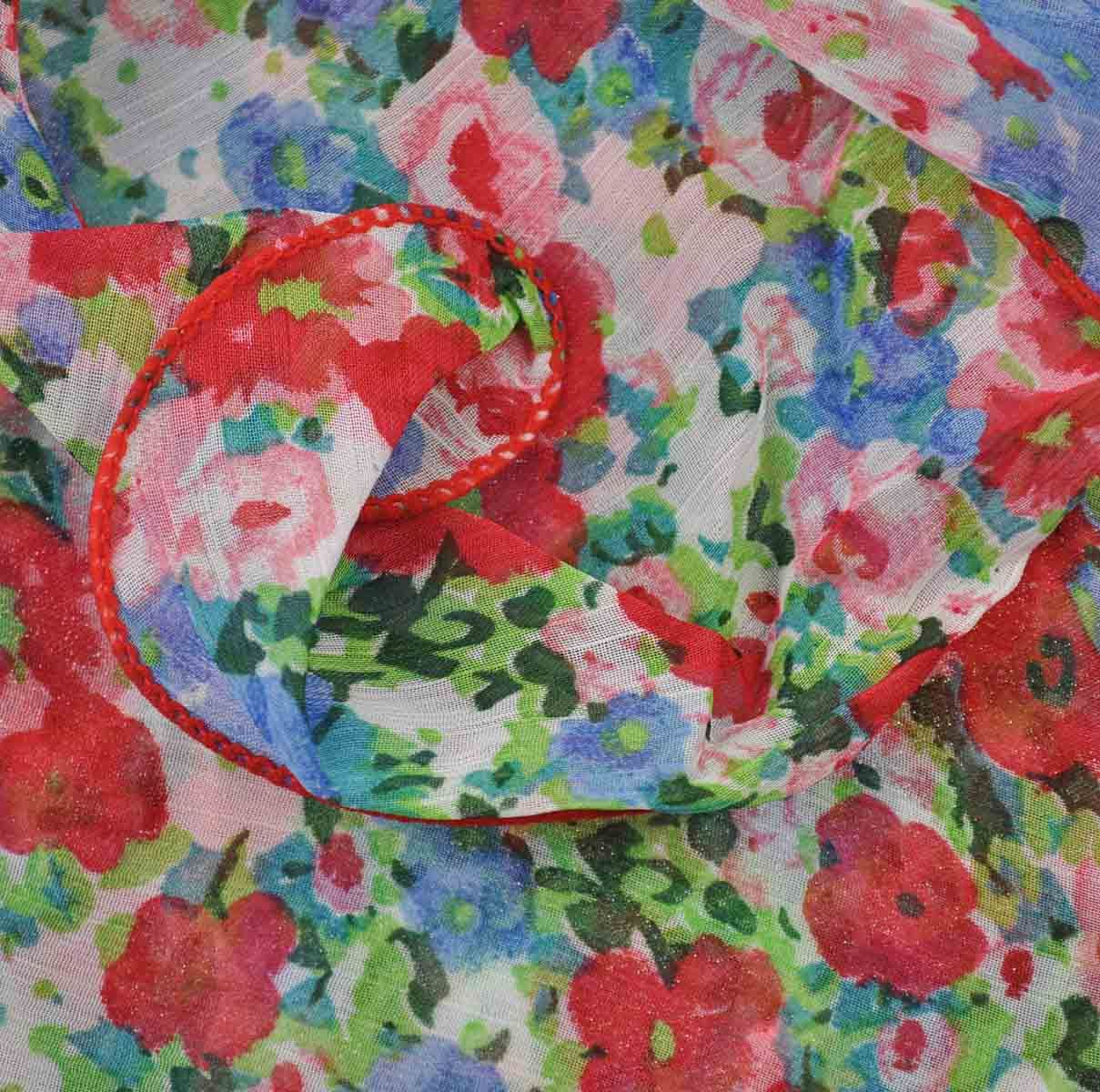 Ladies Stylish Bright Floral Scarf Wavy Shape Lovely Light weight Scarves