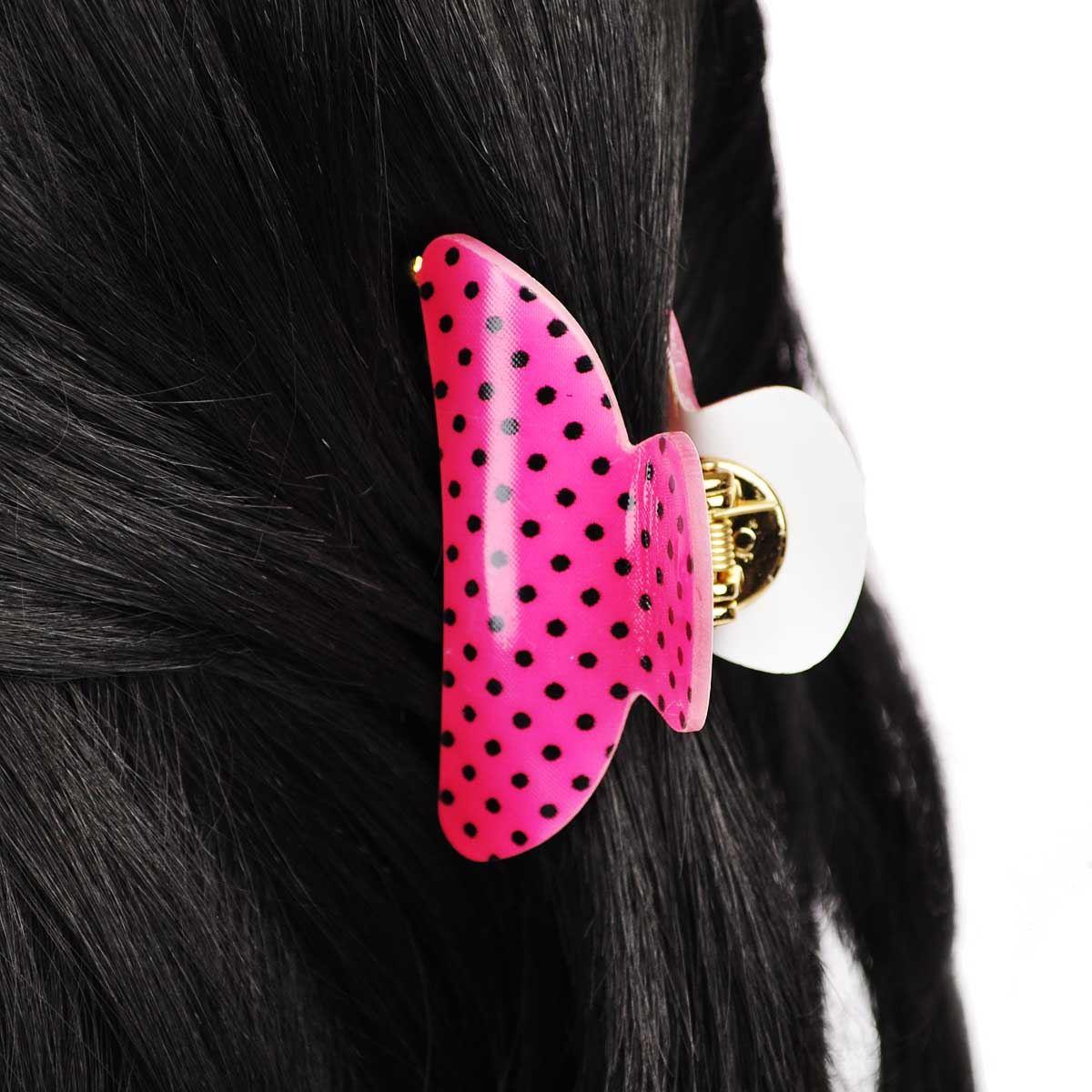 Cloud9basic Cute Small Polka Dot Teeth Hair Clamp Plastic Grip Hair Accessory