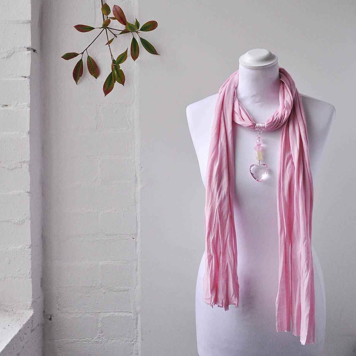 Ladies Pendant Jewellery Heart Necklace Scarf Made of Soft Jersey