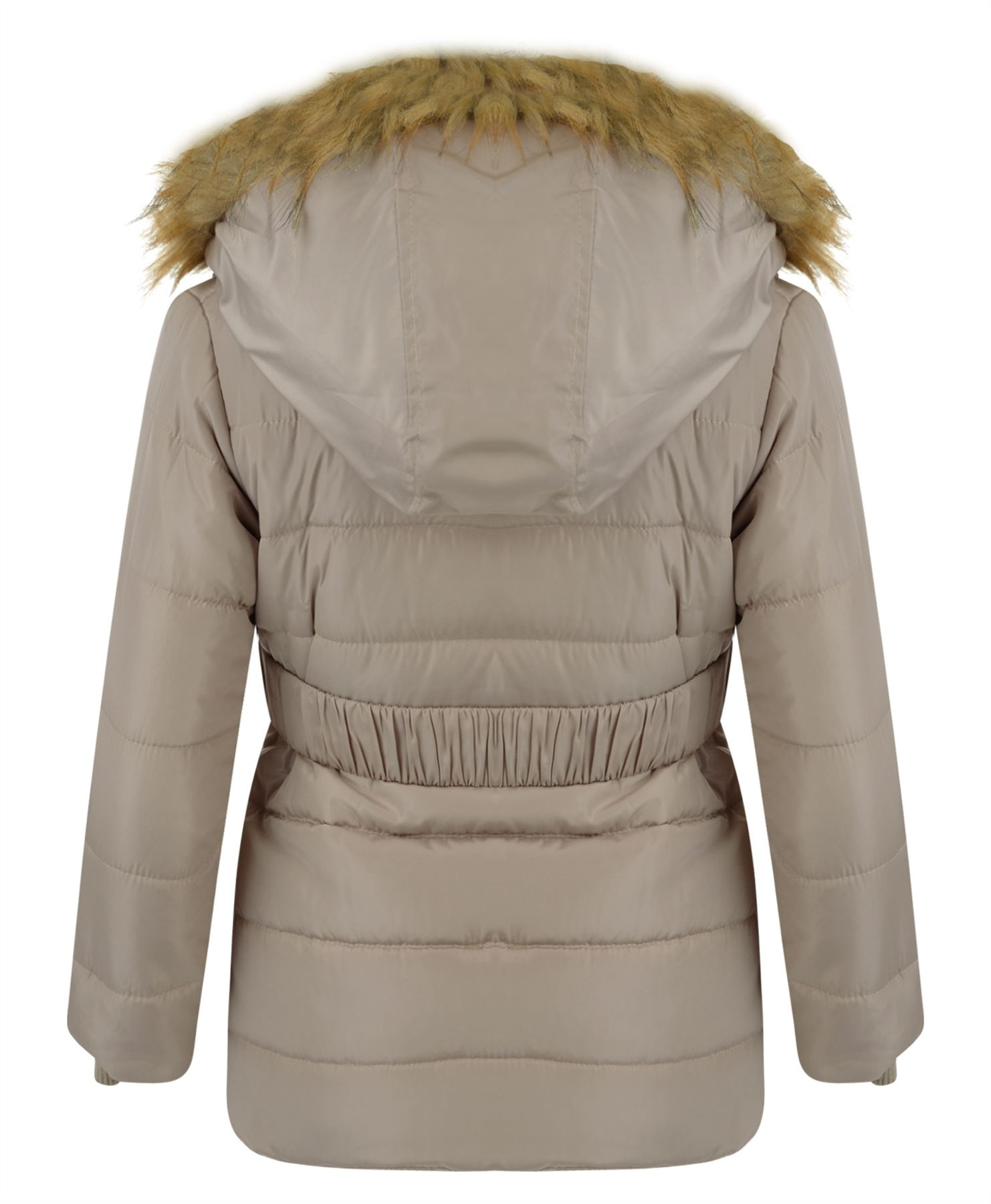 Girls Belted Quilted Jacket Kids Long Padded Detach Hood Winter Zip Coat 3-14 Y