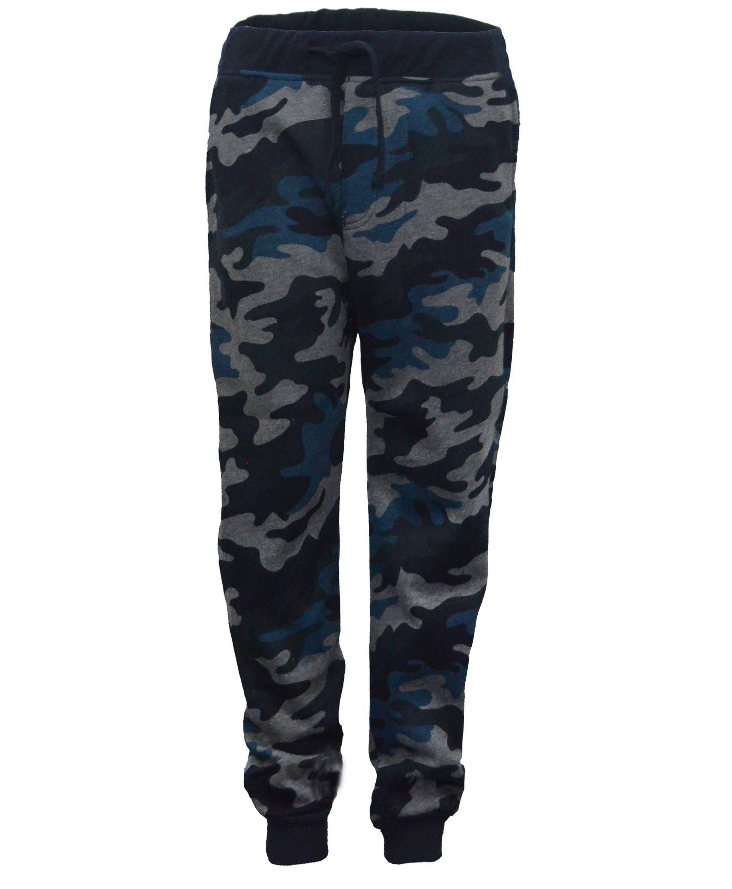 Kids Camo Print Jogging Trousers Girls Boys Sweatpants Bottoms Tracksuit 3-14 Y