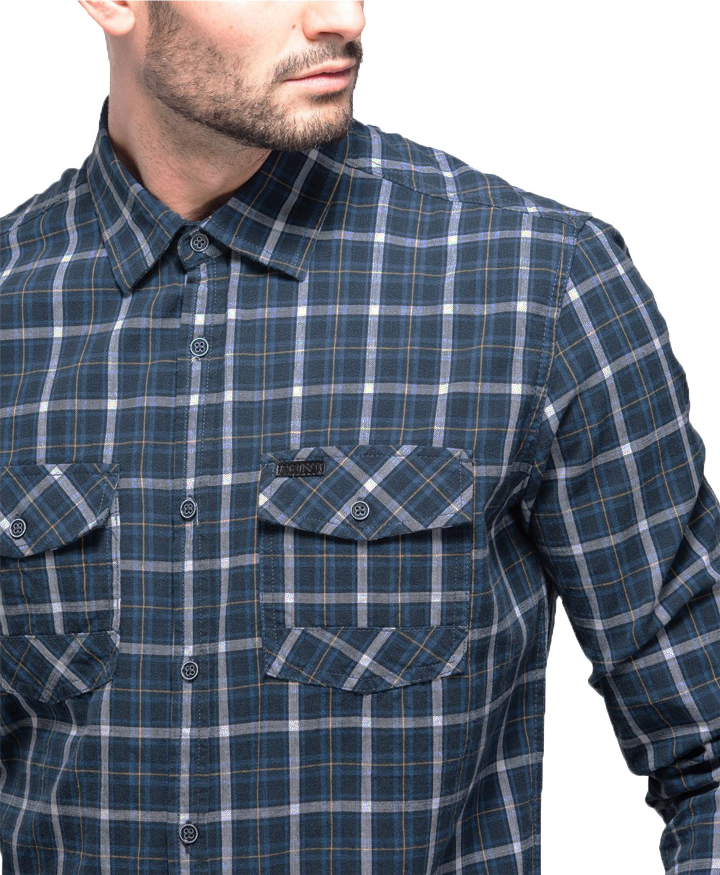 Mens 100/% Cotton Point Zero Checked Shirt Casual Long Sleeve Top Sz S-XL RRP £60