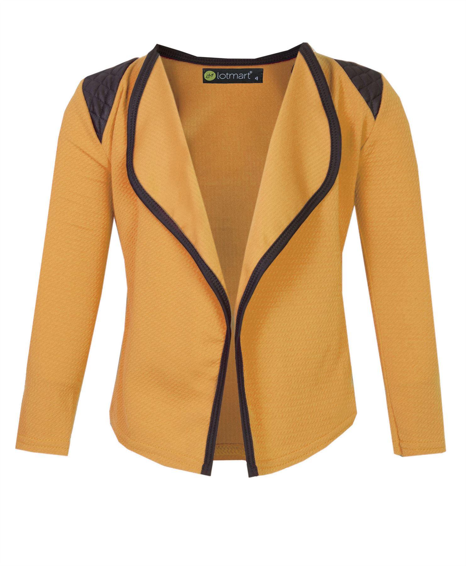 Girls Open Front Jacket Kids Long Sleeve Quilted Shoulder Cardigan Top 3-14 Y