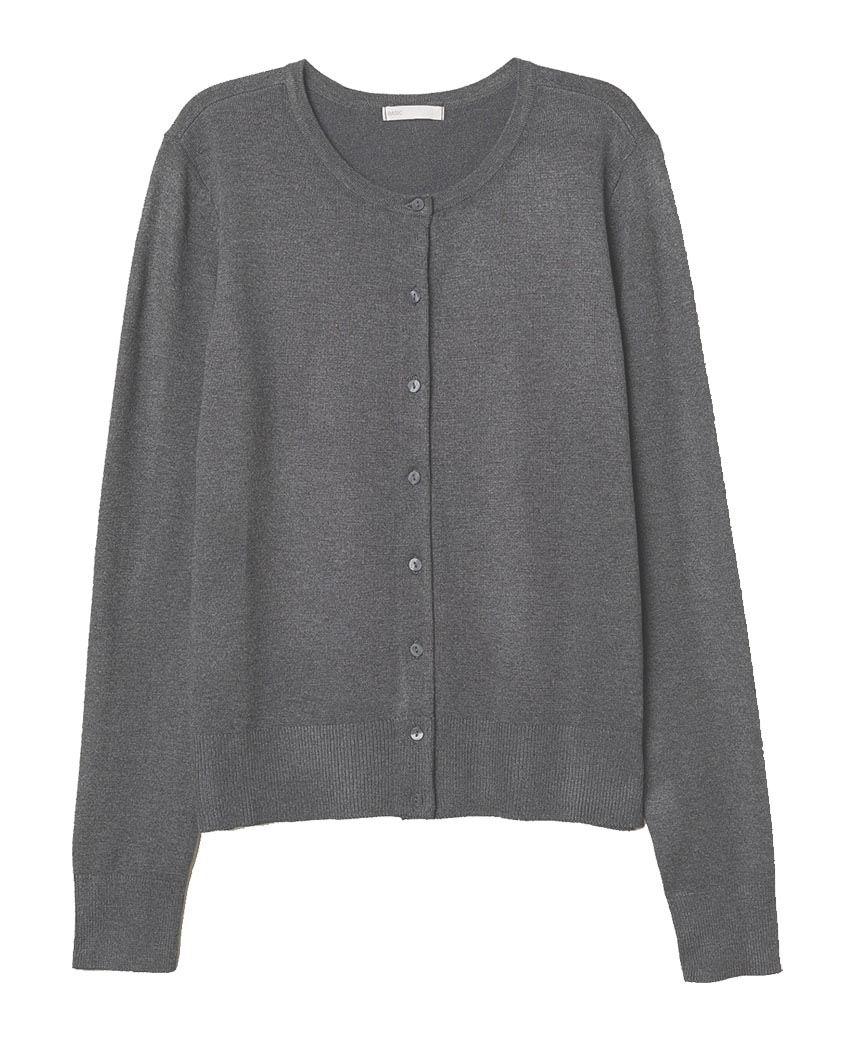 Women Round Neck Fine Knit Cardigan Ladies Long Sleeve Sweater Button Fastening