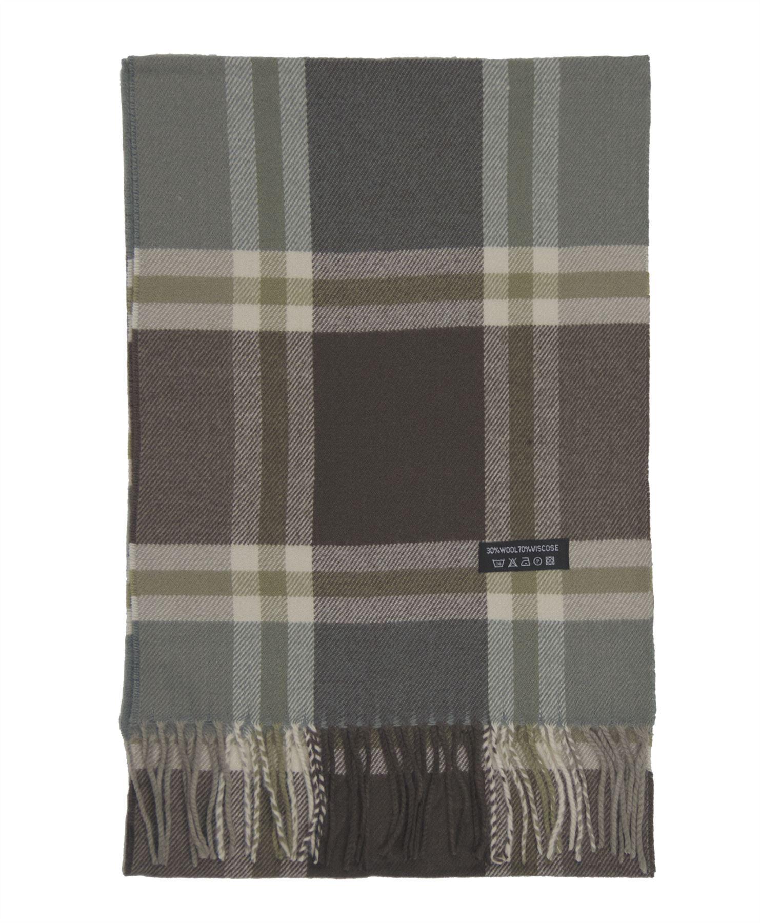 Unisex Tartan Print Scarf Men Wool Blend Fringing Wrap Women Cosy Long Scarves