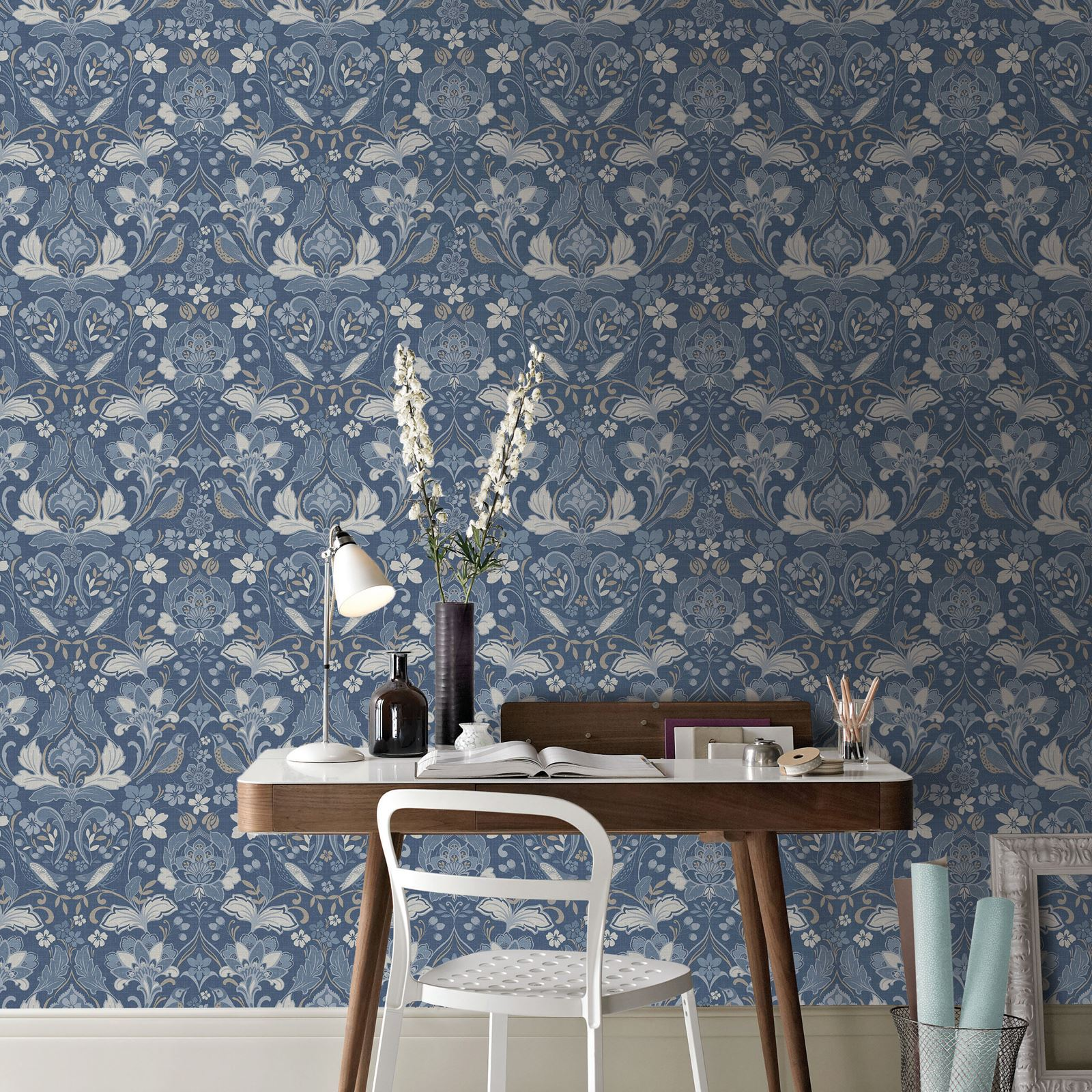 Arthouse Folk Floral Damask-like Flowers Leaves Birds Wallpaper Blue /& Grey