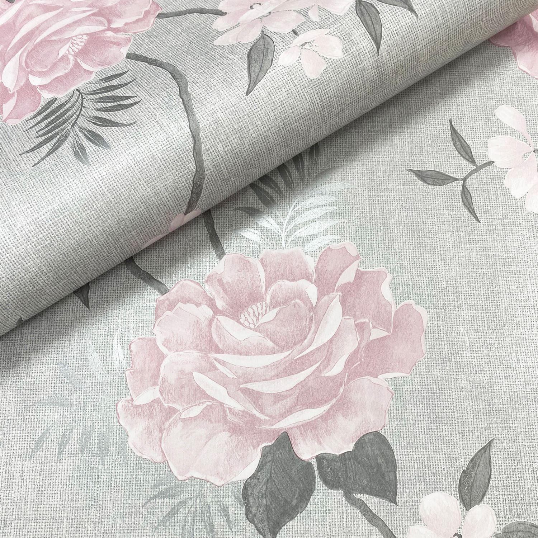 Muriva Rosalind Floral Rose Trail Metallic Silver Highlights Wallpaper