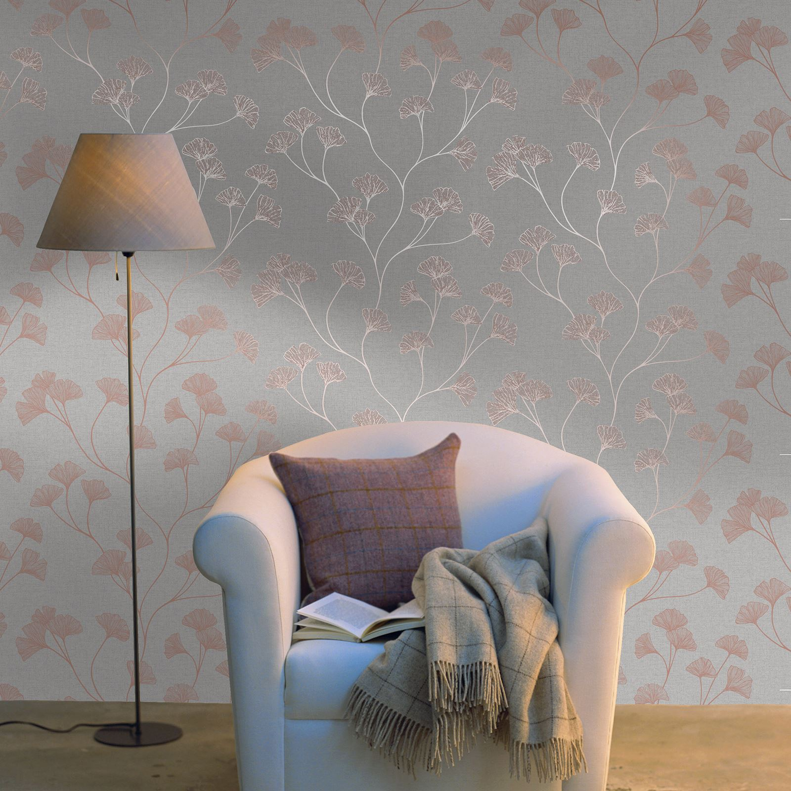 ROSE GOLD SILVER GREY HOLDEN GLISTENING GINGKO PLANT WALLPAPER METALLIC