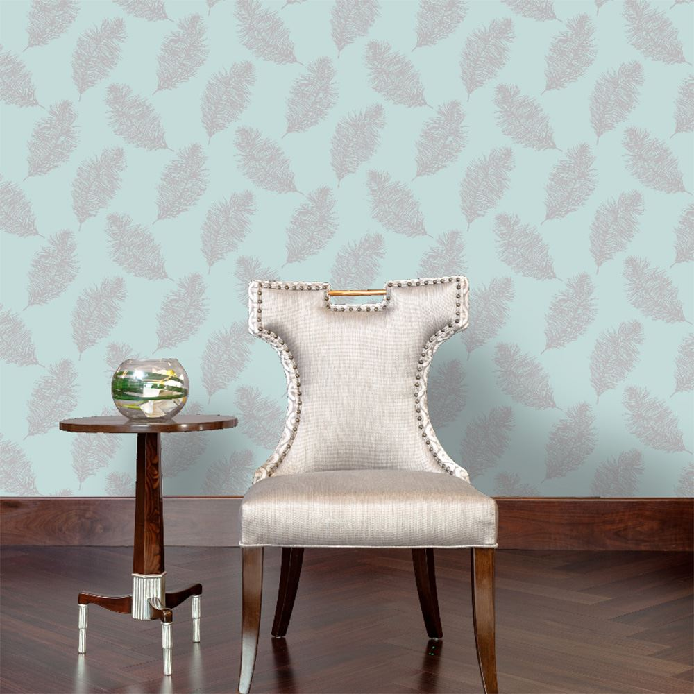 HOLDEN DECOR FAWNING FEATHER METALLIC MATTE WALLPAPER SILVER COPPER ROSE GOLD