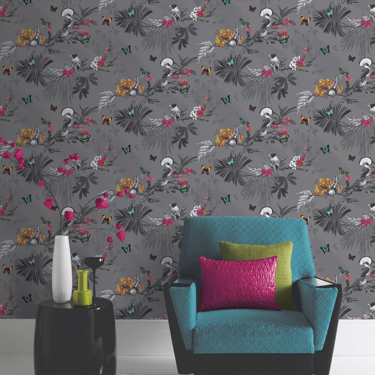 Exotique Tropical Flamant Rose Paon Perroquet Nature Oiseaux Papier Peint