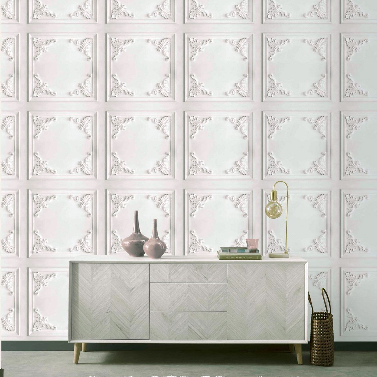 NAVY REALISTIC WOOD PANEL ARTHOUSE PANEL 3D EFFECT WALLPAPER WHITE
