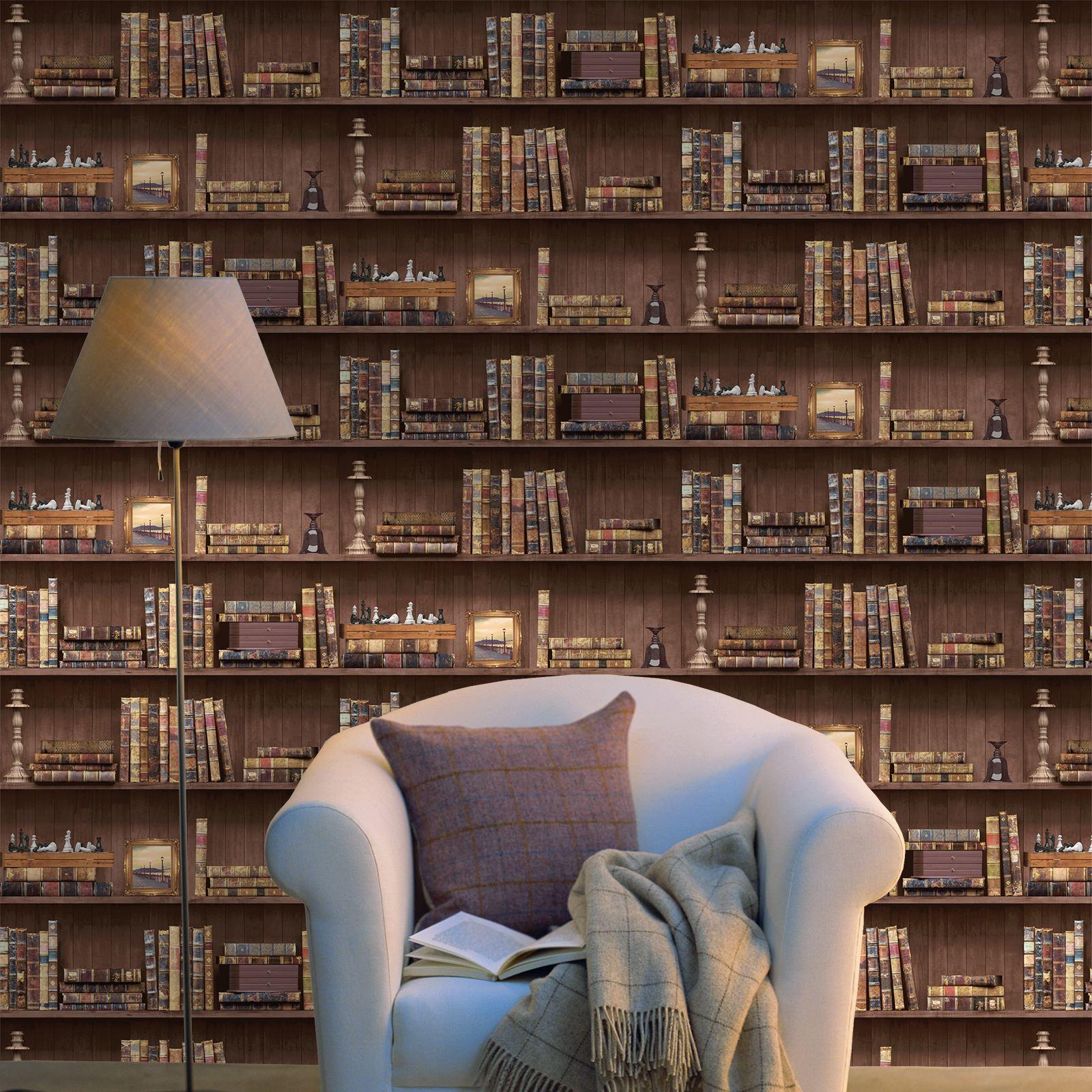 Bücherschrank Tapete Antik Bibliothek Encyclopedia Gold Silber Schwarz Rosa Grau