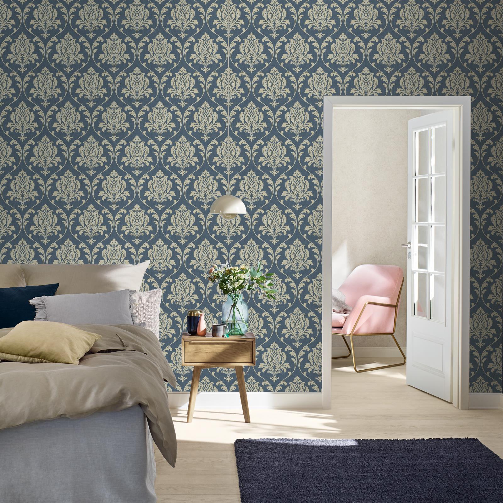 Rasch Highgrove Classic Floral Metallic Damask Duplex Wallpaper Duck Egg /& Navy