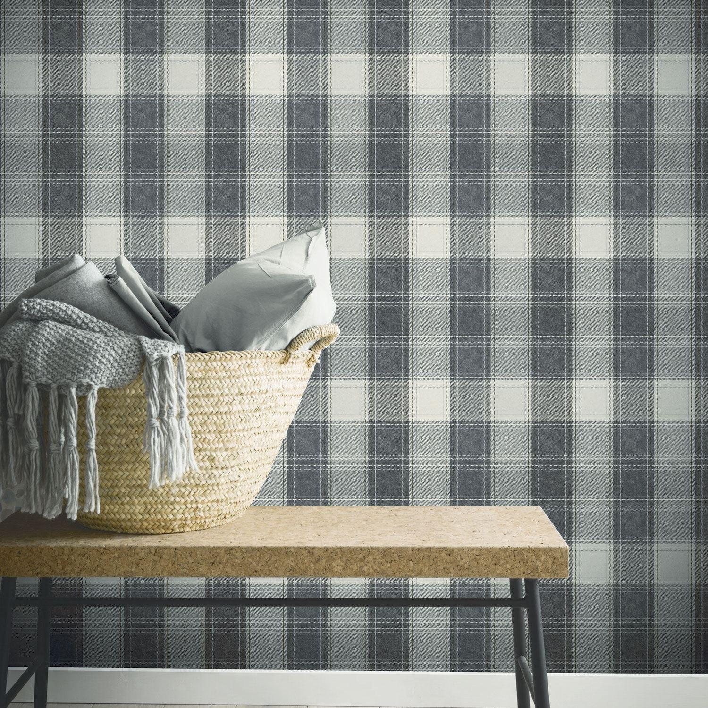 Pays tartan Carreaux Carrés Géométrique Papier Peint-Aidan Plaid glamour
