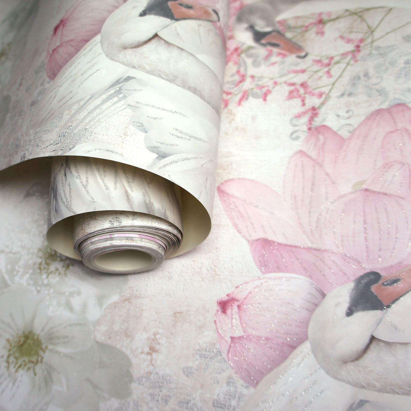 Fiori Floreale Carta da Parati Glitter Metallico Rose Ginkgo Denti di Leone