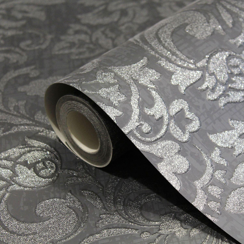 Vari Design Carta da Parati Damascata P+S,Arthouse,Corona Glitter Metallico