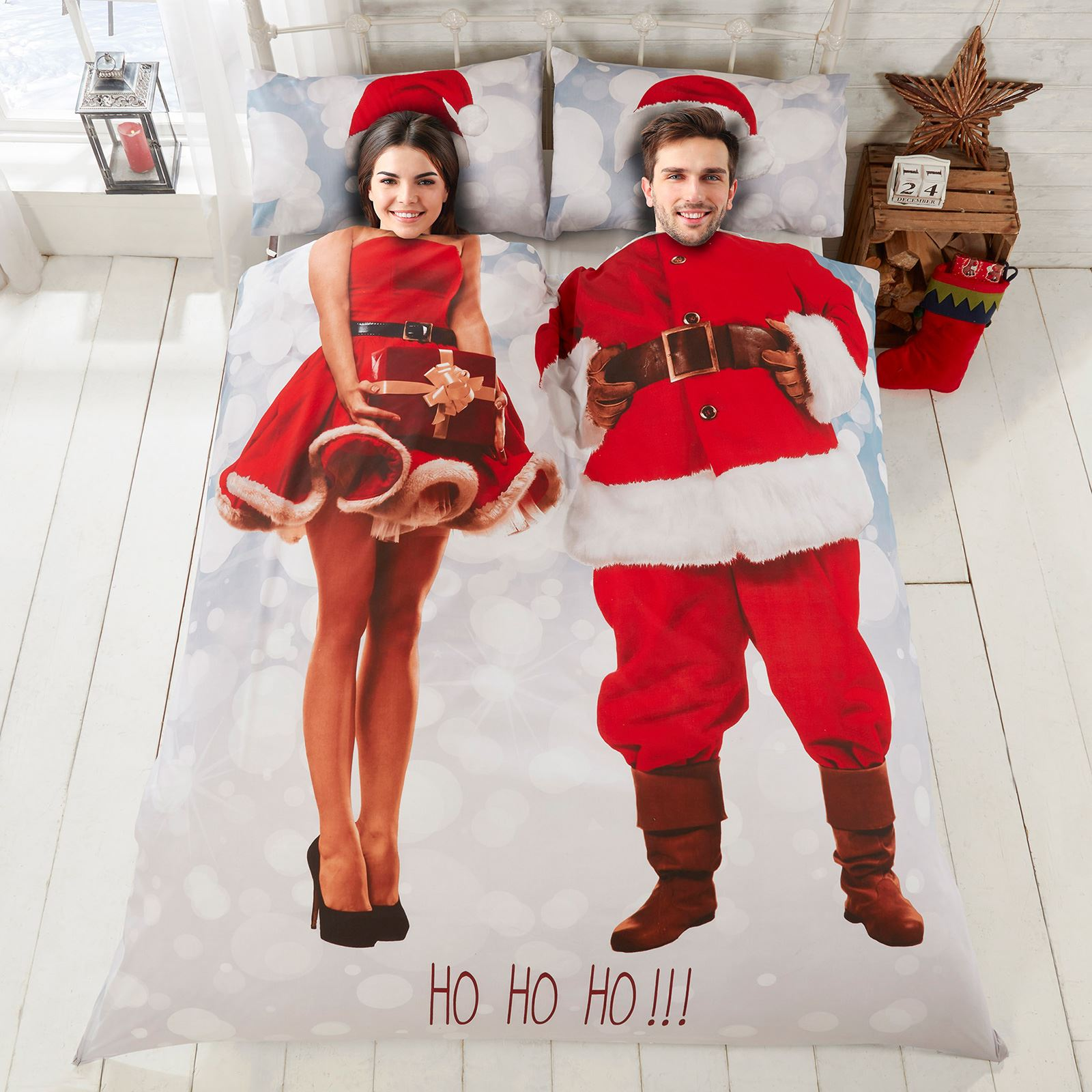 /& sra Doble /& King Size Varilla extensora para Santa Foto Impresión Navidad conjunto de funda de edredón Sr
