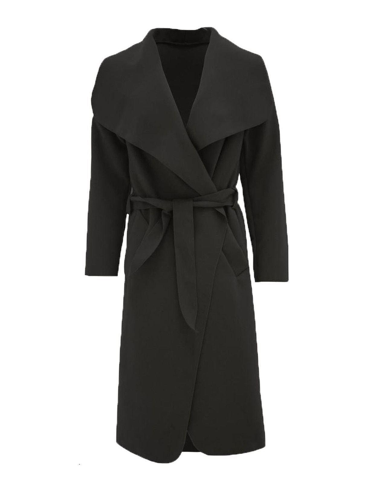 Ladies Italian Waterfall Long Coat Womens Oversized Belted Celeb Drape Duster