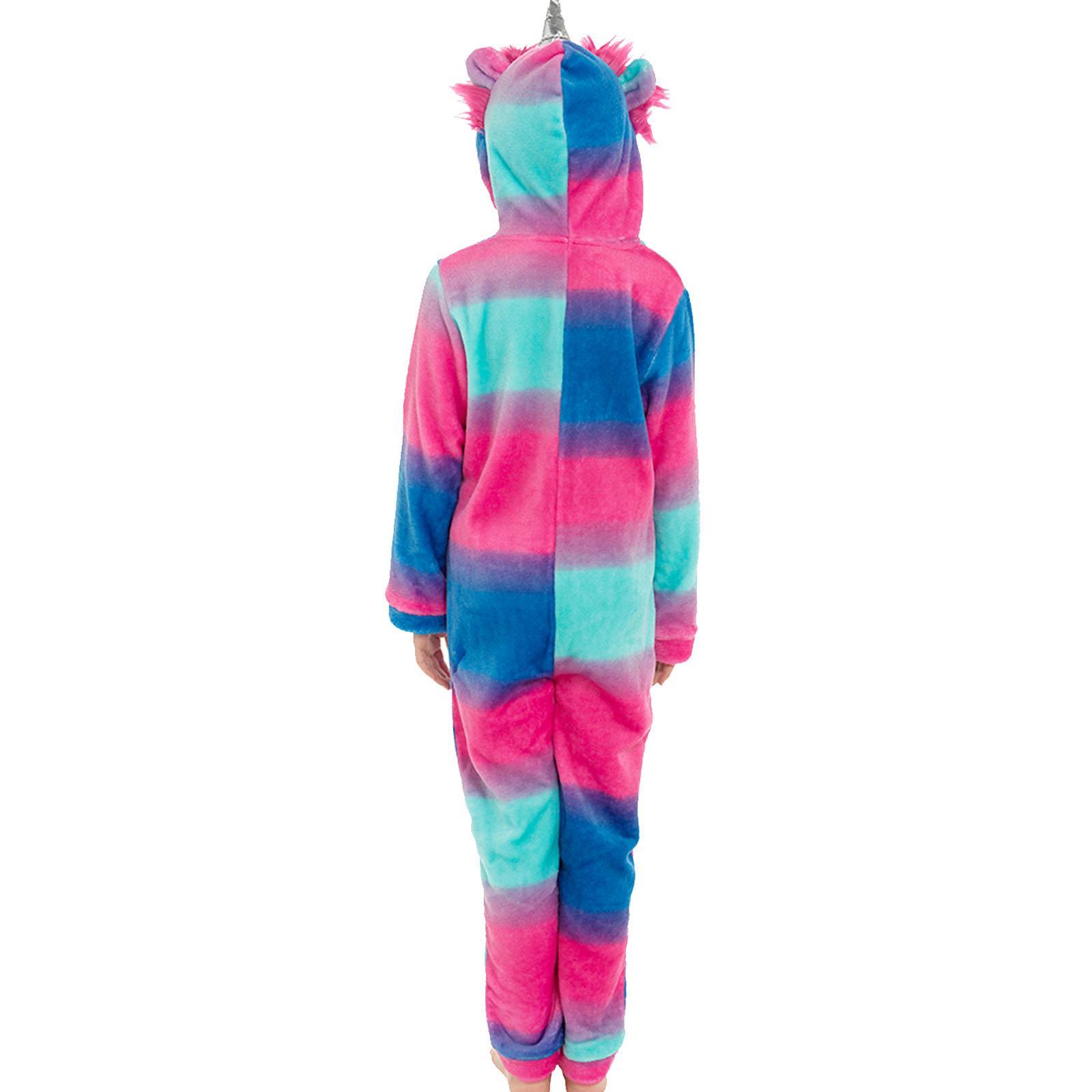 Kids Unicorn Hooded Shimmer Fleece 1Onesie Boys Girls Zip Up Jumpsuit All In One