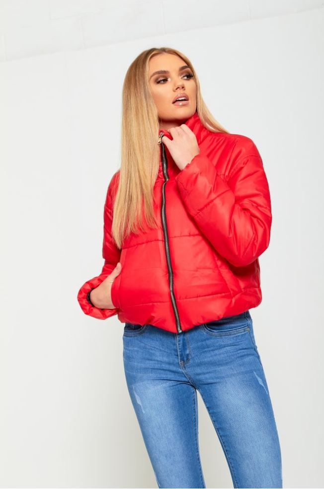 Ladies Women High Neck Thick Warm Zip Up Cropped Puffer Jacket Padded Parka Coat